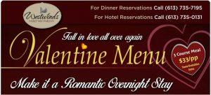 2018 Valentines Menu and Overnight Romantic Stay