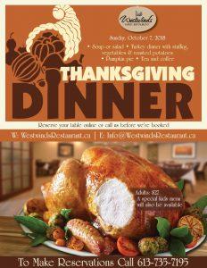 Menu Thanksgiving 2018